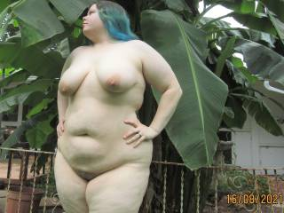 My lovely BBW wife casually posing nude outdoors, showing off her chubby curves for all of you!