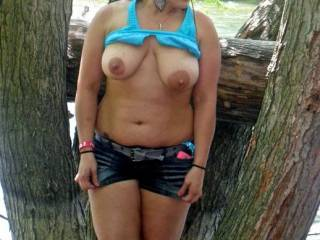 Not really, but i can tell you seem like one of the sweet/shy/innocent types ;) and showing us those titties is just such a turn on...I wish i was there as you were pulling those shorts down ;) id have you warmed up in no time =)