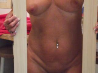 I would love to Be-holding that beauty ;) either holding your tits or ass in my hands...or if im real lucky i could be holding your hair as you hold my cock with your mouth ;) im really loving the belly ring btw, i soo would wanna bareback you then pull out all over your lovely stomach...