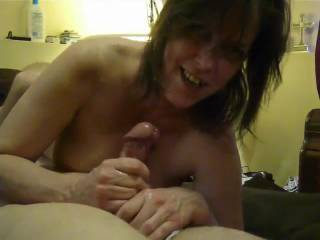 Love the way she knows the exact moment he is going to go over... and, man, does he ever give up a fabulous orgasm! His fire was fanned, I am sure, when he felt your cum pour onto to his hungry cock!