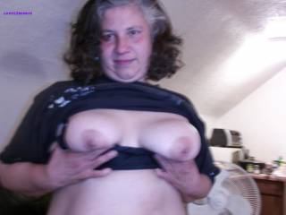 """Lynne is my 49yo married bbw horny granny neighbor Her hubby knows she cums over cause she wants me to use her like the old dirty slut she is Shes 5'2"""" 205# got big saggy 42Ds hard dark nips, a fat belly, a big wide ass and a wet sloppy hairy cunt. Enjoy!"""