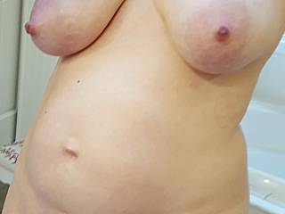 Who wants to get hold of these heavy milk filled tits?