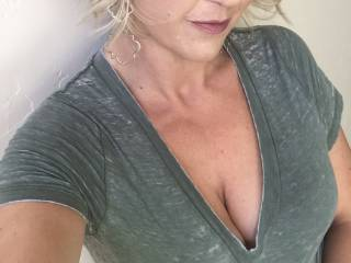 Fuckin tell me something dirty!  What do you like about this pic? I'd love to take a hot cum load on my tits...shirt on or shirt off? RSVP