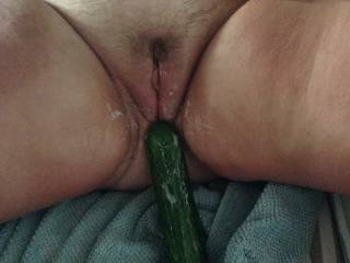 My wife just wanted to be fucked and I loved feeding this big cucumber into her and as you can see she loved every second and every inch