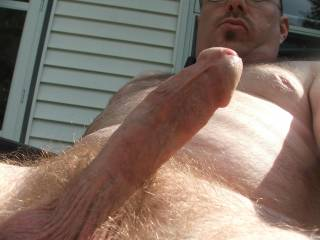 Just showing off my cock in the backyard again