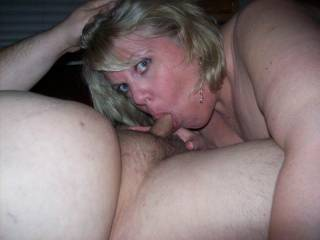 Holding Mrs Daytonohfun\'s head as she sucked on my cock as her hubby watched and took pics
