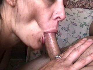 Tall, lovely redhead sucks cock long and deep and swallows.
