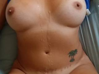 Would love to see him close up cum on those nipples! Or a hot load on your tasty open pussy lips! I am stroking good now!