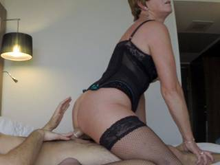 You look so sexy riding his cock in wearing your sexy black lingerie! I would love to see more of you enjoying yourself wearing your sexy lingerie. Do you ever have sex whole wearing your high heels?