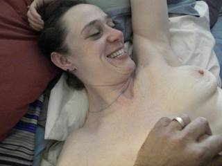Wow!  Now that is the smile of a satisfied and well fucked woman!  Gorgeous!