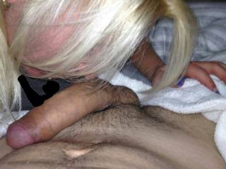 My Wife licking my Cock! Who would like to share with her?