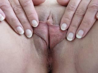 My petite pussy lips a little moist!