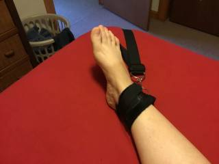 The bed restraints were off the bed for a while and needed readjustment. This time I looped them over the headboard corners and used the bottom corners for her feet. This didn't hold her legs completely spread but I liked the view.