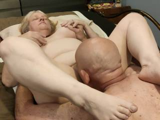 It is like a buffet! I love grabbing those great tits while eating that tasty pussy of Mrs. Shutterbug58. Go to our video to watch the feast.