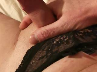 Getting my small cock hard in my Mrs panties What would you want to do with me while wearing panties