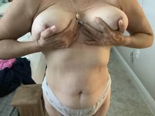 Wife holding boobs