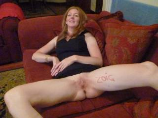 lipstick ,legs open wide and pussy ready