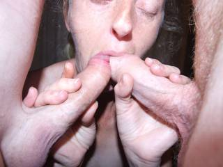 Joanne's first double cock blowjob