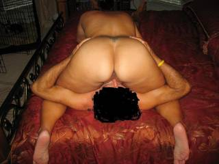 Eating my cum out of his wifes freshly fucked pussy