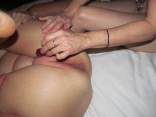 Her friend makes my wife cum with a mini vibrator.
