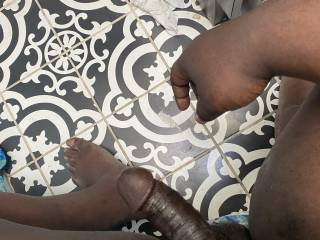 Nice shot of my big black dick. Tell me what you like about it.
