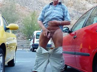 Wanking at the parkingplace.