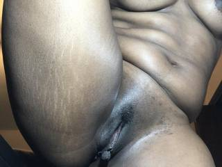 Smooth shaved pussy and long labia