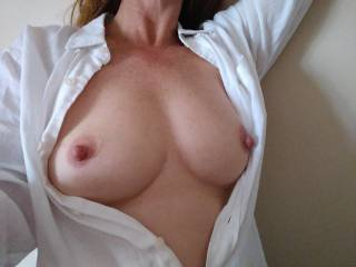 Mmm my big hard nipples needed some air! Anyone got a suggestion on where they would like to see them exposed.....