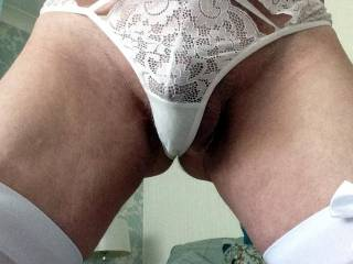 I\'ll need to be careful or my cock will slip out of my panties