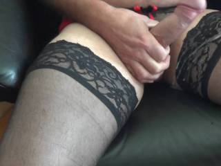 Slow motion video of me cumming in my wifes\' stockings and panties. Who else does the same? Hope you like.
