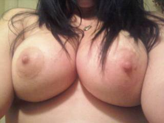 i would slide my cock between your tits and watch them shake while i give them a good fucking.  My wife would suck your nipples and when i got ready to cum, i would shoot my hot load on your nipples and her mouth while she continues to suck on them.