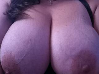 Oh yes!!! Those are marvelous breasts!!!! We would both love to suck those sweet nipples!