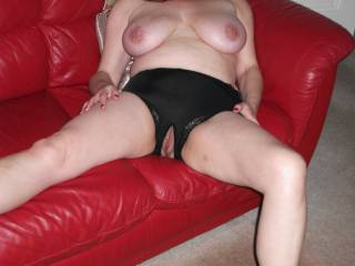 She is very hot...love those big tits on display and watching her play