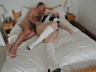 Relaxing and cuddling after being fucked in his bed whilst hubby watched