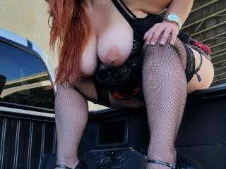 I can imagine Dddy behind you and eating your ass and pussy from outside the truck, while I stand in the box and fuck your gorgeous mouth while fondling your amazing tits