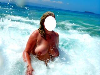On vacation at the nude beach.
