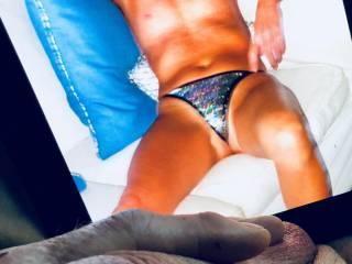 Would love to peel my slutty blond goddess's bikini bottom off and plunge my tongue deep inside her.