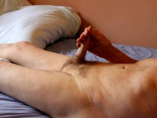 Lying on my back naked always seem to lead in the same direction !!