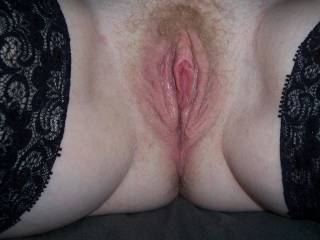 hairy, wet and ready! beautiful combo! ready to lick that gorgeous pussy