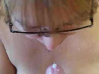 A great blow job & hand job with a lovely cum swallow.