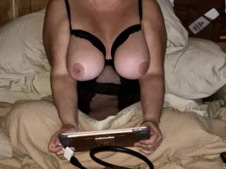 Black Friday shopping and some porn browsing.  Hubby caught me with my fingers in my pussy.