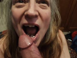 Is there anything better than a cock in your mouth? This married woman loves to swallow a man\'s cum. Mmm... Look how happy I am with a cock. Want to keep my married mouth happy?