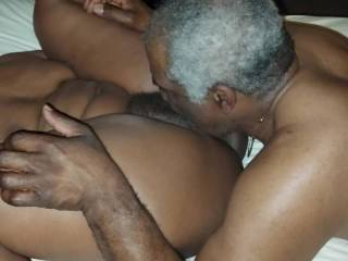 Threesome night continues with more pussy eating.  They are both enjoying his tongue working her clit and pussy hole!