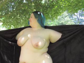 My wife showing her big tits and soft chubby curves beneath the shade of the Japanese maple.