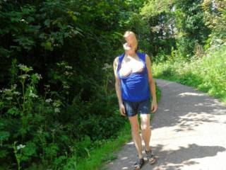 Hi all been away a while, it is so very annoying when you are taking a relaxing walk in the sun, and your boobs fall out. dirty comments welcome mature couple
