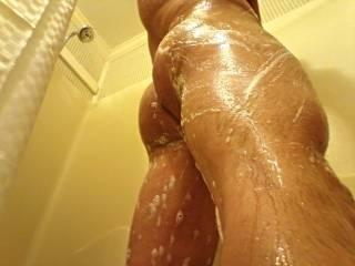 Just enjoying a hot shower.
