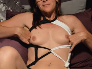 me in sexy black and white lingerie