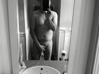 Vintage Black and White nude selfie