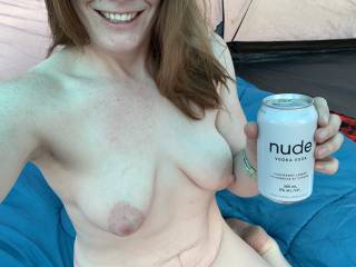 drinking nude while nude in a tent. i know i dont have the sexiest body