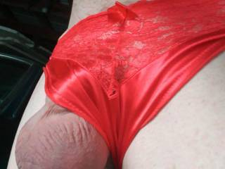 new red panties balls out